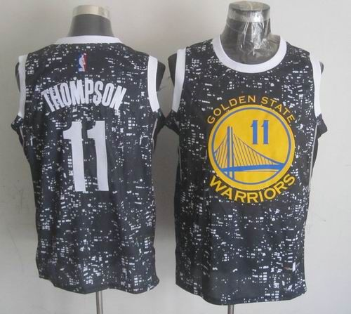 Golden State Warriors 11 Klay Thompson Black City Luminous Jersey ... 8a83f1298