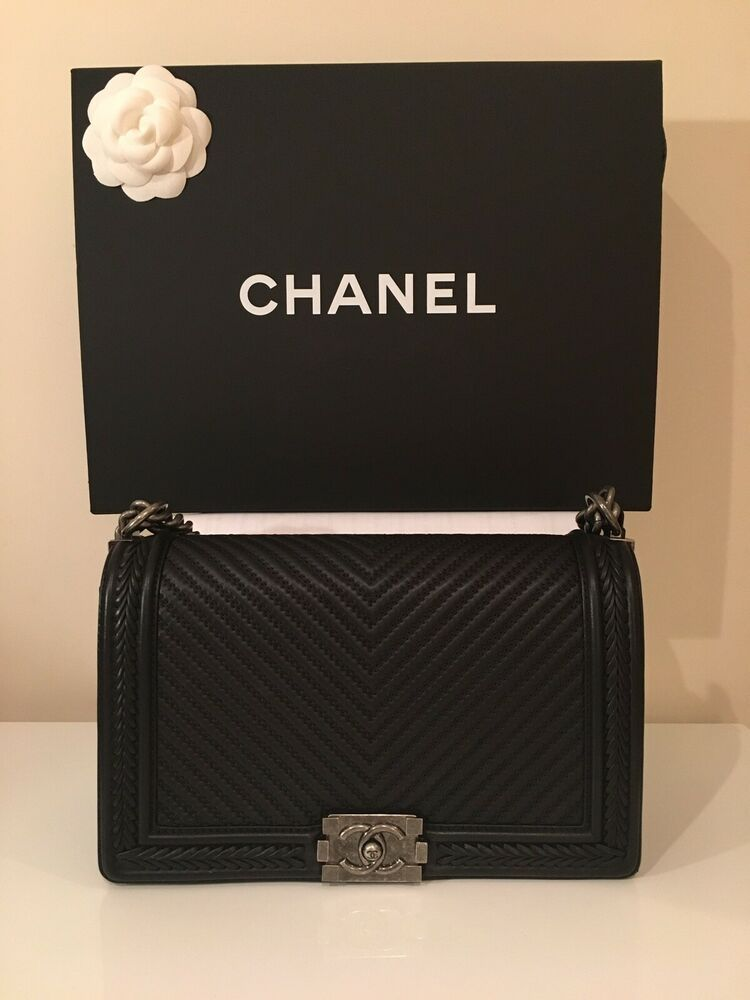 064d4066c87e CHANEL Black Chevron Calfskin Leather Boy Bag, Ruthenium Hardware ...