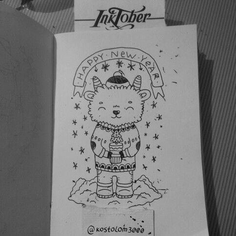 #inktober #inktoberkostolom3000 #ink #pencil #pencilart #goat #happynewyear #Christmas #tree #christmastree #art #artwork #artoftheday #illustration #draw #icecream #milk #drawing #cuteart #cutie #kostolom3000 #AnnaAlekseeva