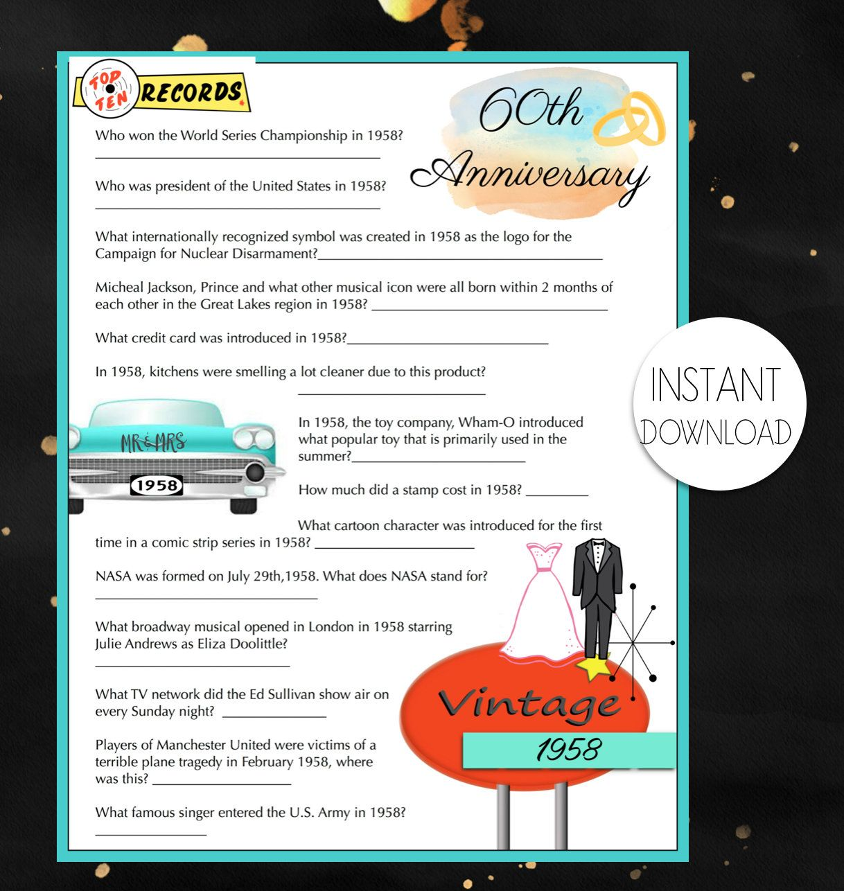 60th Anniversary 1958 Year Anniversary Trivia Game Instant Download Printa 60th Wedding Anniversary Party 60th Anniversary Parties Anniversary Party Games
