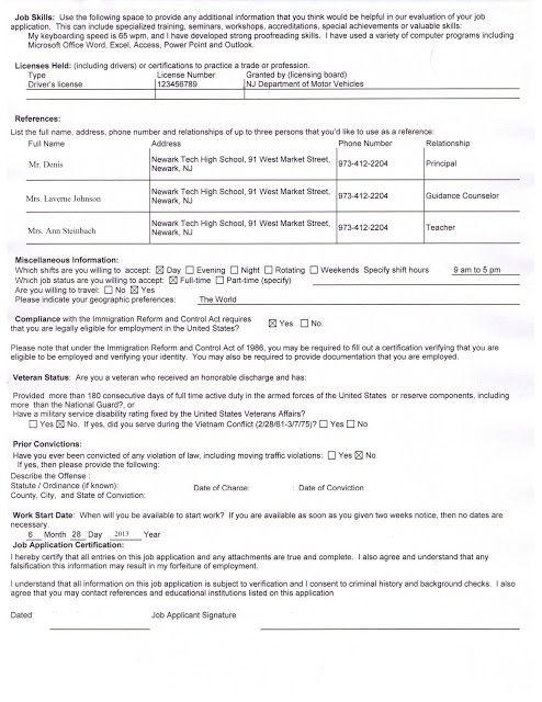Newark Tech High School: SAMPLE COMPLETED JOB APPLICATION ...