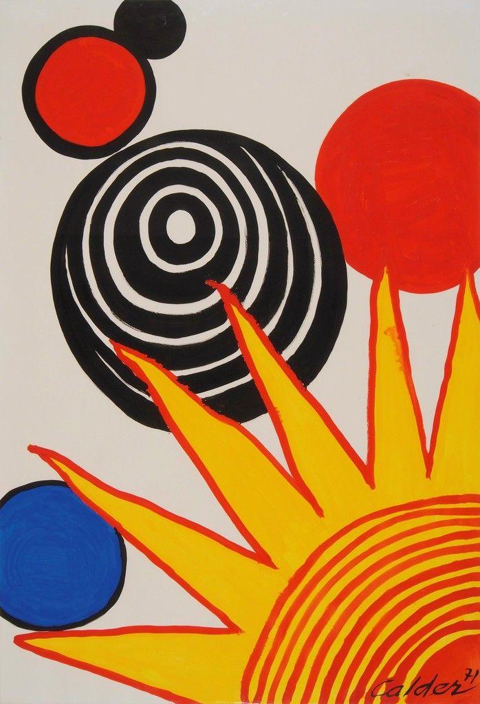 Alexander Calder Quarter Sunrise 1971 Original Signed And Dated