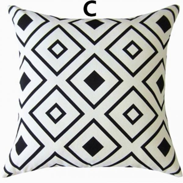 Black And White Geometric Contemporary Decorative Pillows Abstract Impressive Large White Decorative Pillows