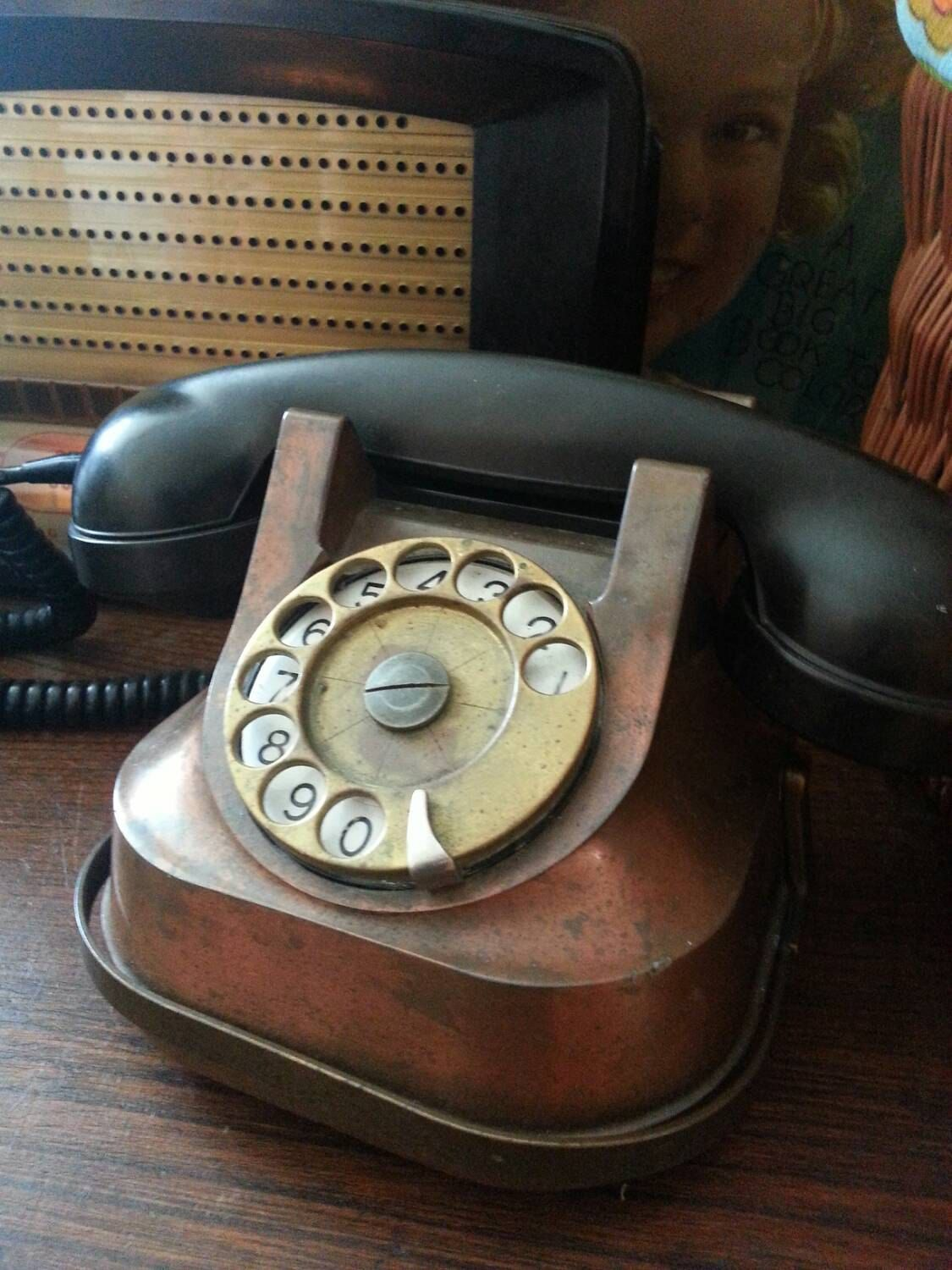 Rare c1930-50s Copper-Faced, Brass-Detailed Bakelite Steampunk Rotary Phone by BacktotheFuchsiaShop on Etsy https://www.etsy.com/listing/236020965/rare-c1930-50s-copper-faced-brass