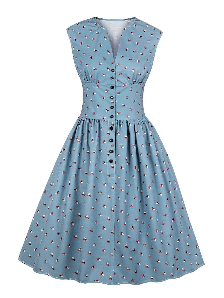 50s Button Front Floral Print Dress Shein Sheinside Elegant Dresses For Women Elegant Floral Dress Vintage Floral Dress [ 1199 x 900 Pixel ]