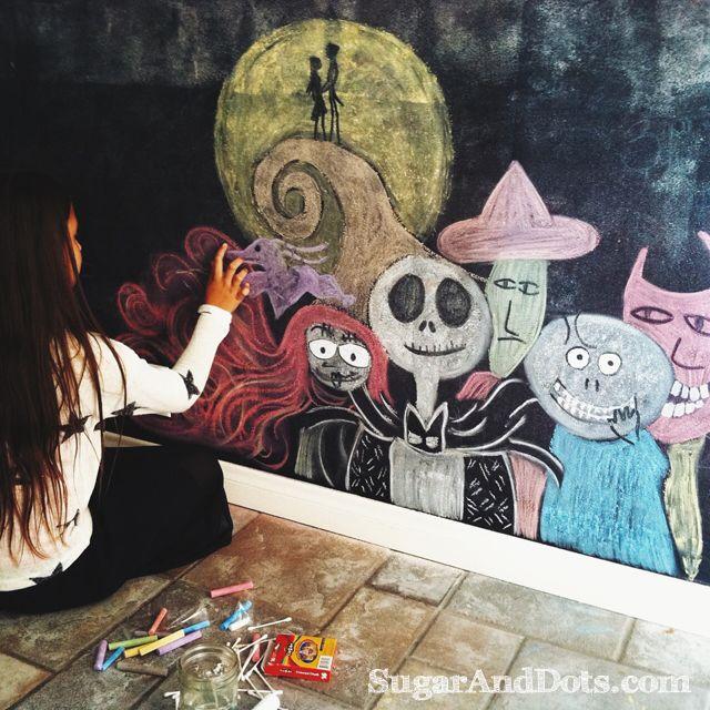 Nightmare Before Christmas Chalkboard Art (9 Year Old Artist) Part 76