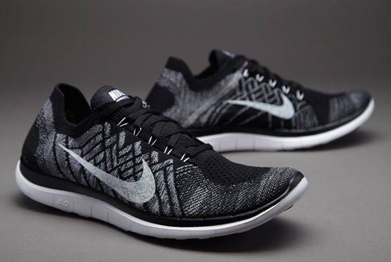 nike free 4.0 flyknit men's black and white suits