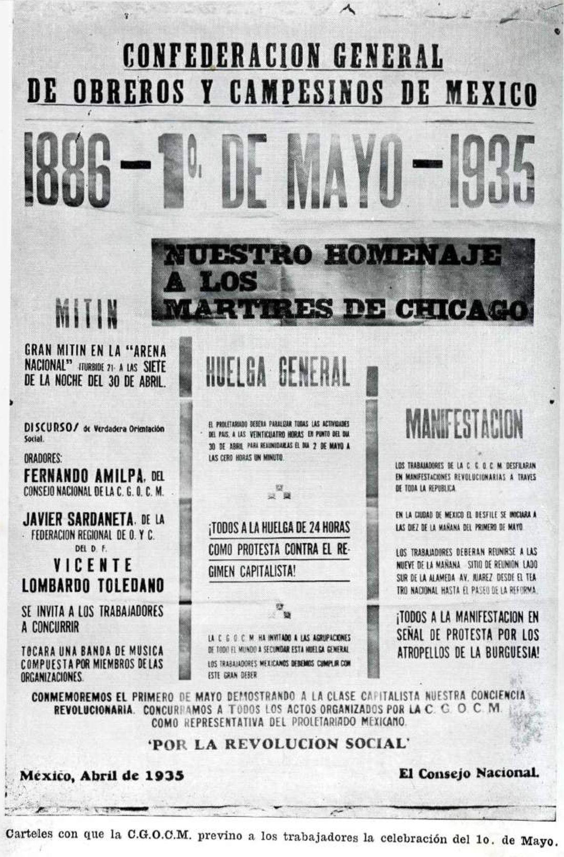 Cartel de la CGOCM convocando al 1º de mayo