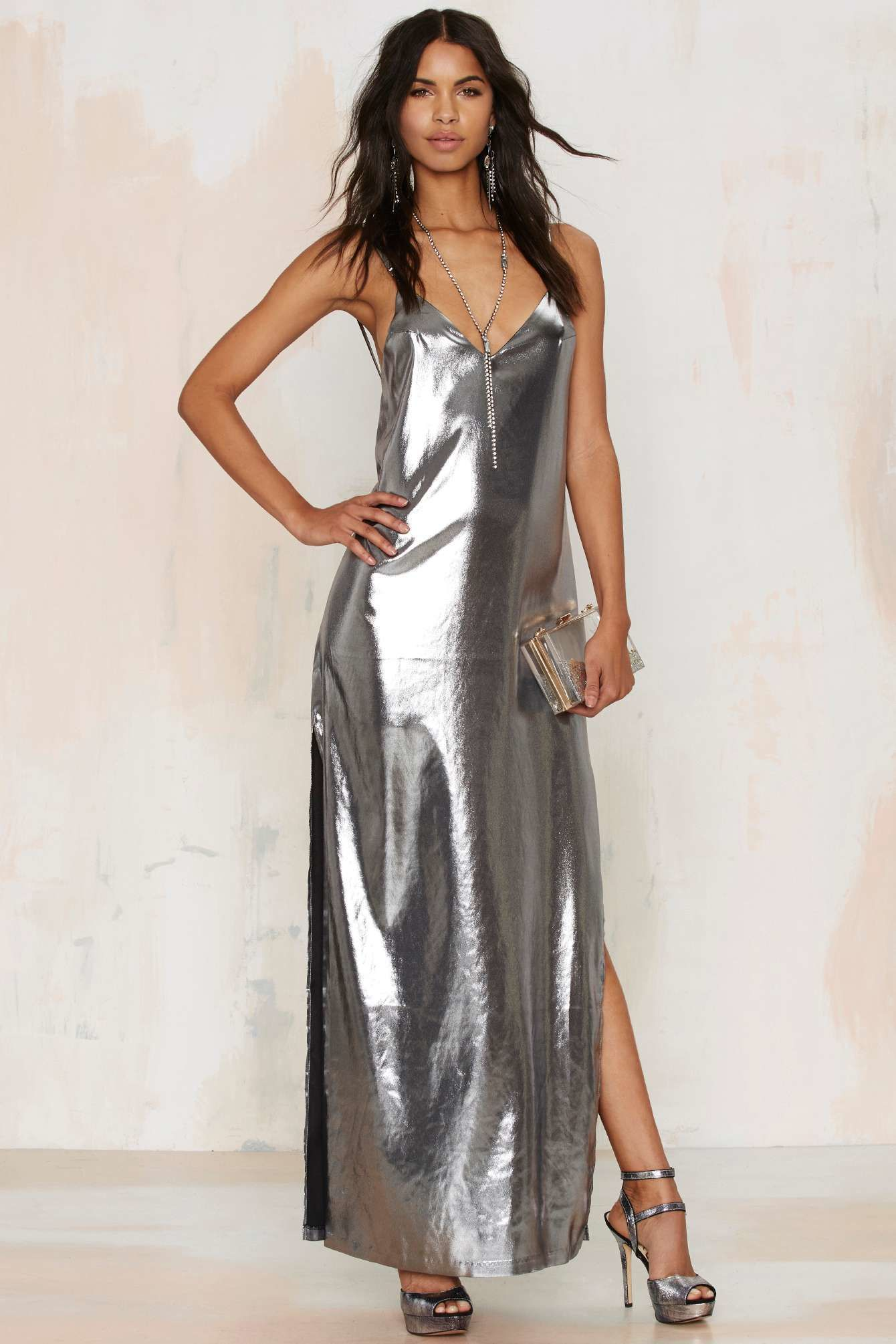 f3e147d26f metallic dresses   Nasty gal Alloy About Eve Metallic Dress in Metallic    Lyst