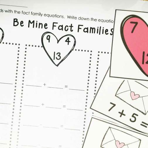 English Worksheets For Year 2 Excel Valentines Day Center Ideas For The Classroom  Fact Families  Amoeba Worksheet with Call For Fire Worksheet Word Activities  Valentines Day Math Fact Families Act Practice Worksheets Word