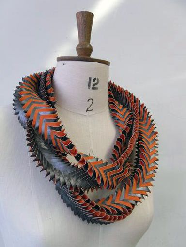 Necklace   Nathan Pass ~ one6design.  'Used Future'.  Hand stiched fabric manipulation