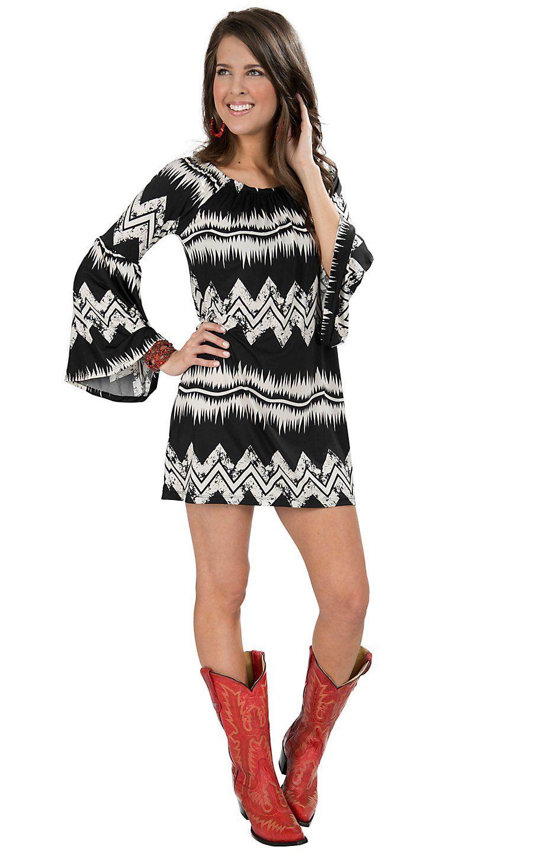 Rouge Women' Black With White Chevron Print 3 4 Bell