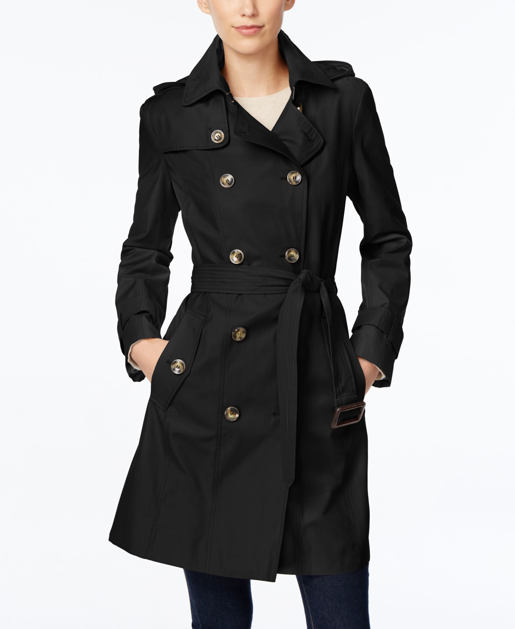 London Fog Hooded All Weather Double Breasted Trench Coat Coats Women Macy S Trench Coats Women Double Breasted Trench Coat Trench Coat [ 2378 x 1947 Pixel ]