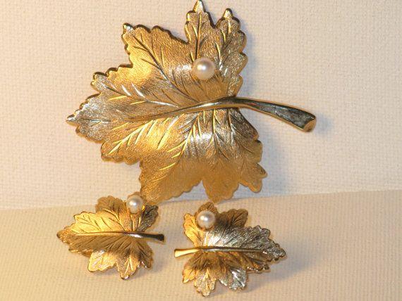 Vintage Sarah Coventry Whispering Leaf Gold by delightfullyvintage