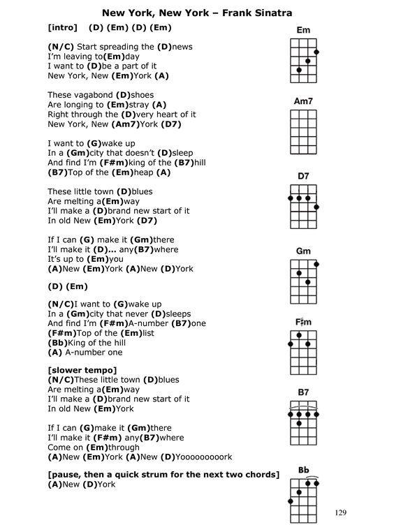 Image Result For New York New York Chords And Lyrics Lyrics For