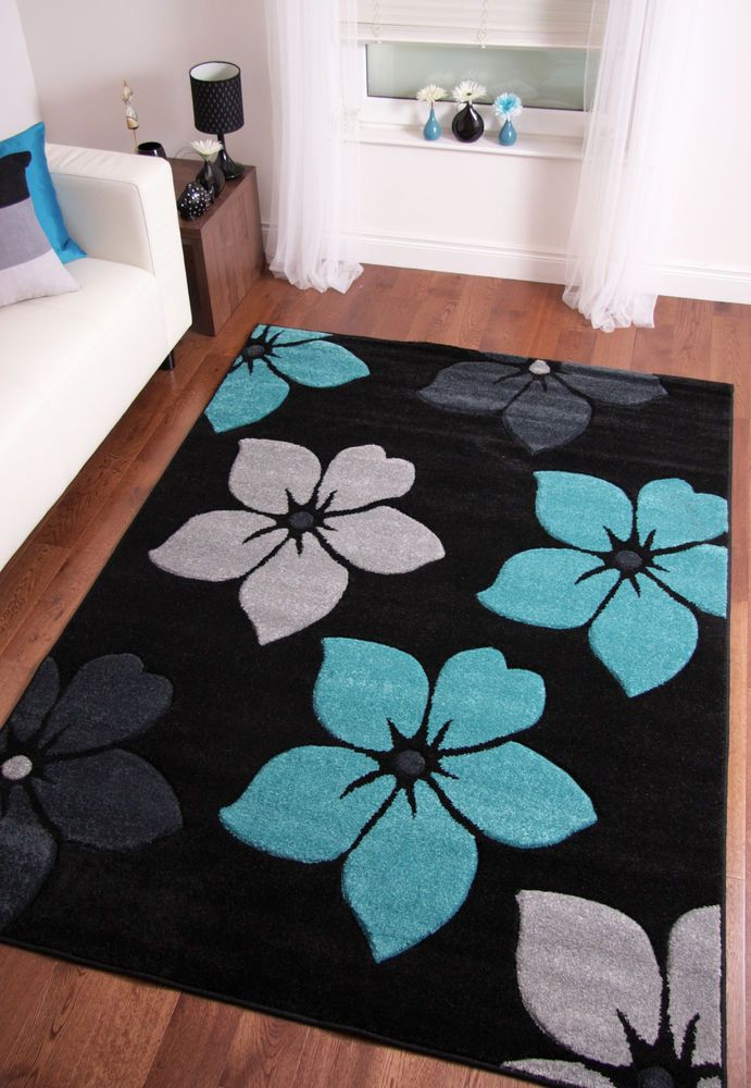teal living room rug modern black grey teal blue flower large area floor 12218