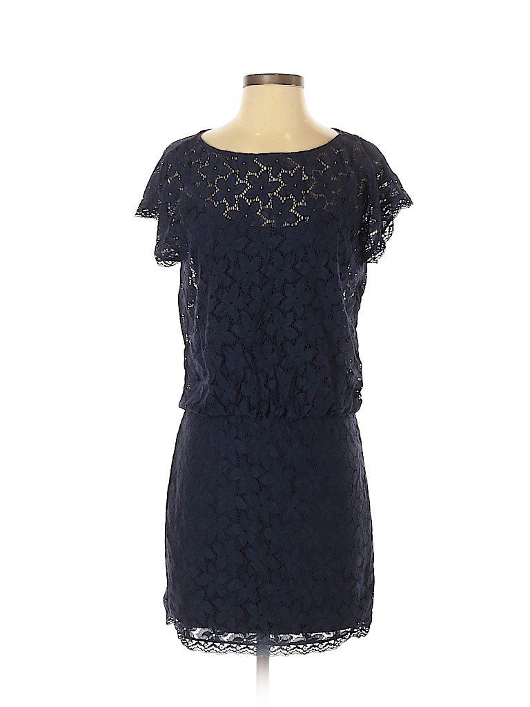 Laundry By Shelli Segal Casual Dress Party Blue Solid Dresses
