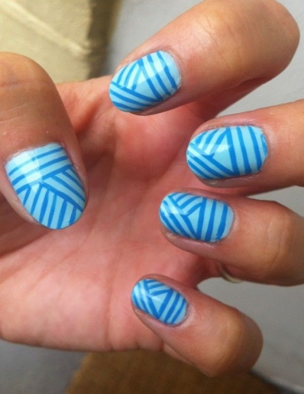 Striped Nails Cool Blue Striped Pattern In Bright Blue Nail Art