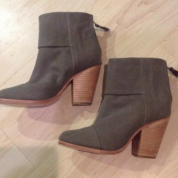 Rag and Bone green canvas Newbury booties Rag and bone New York Size 6.5 never worn. No box. rag & bone Shoes Ankle Boots & Booties