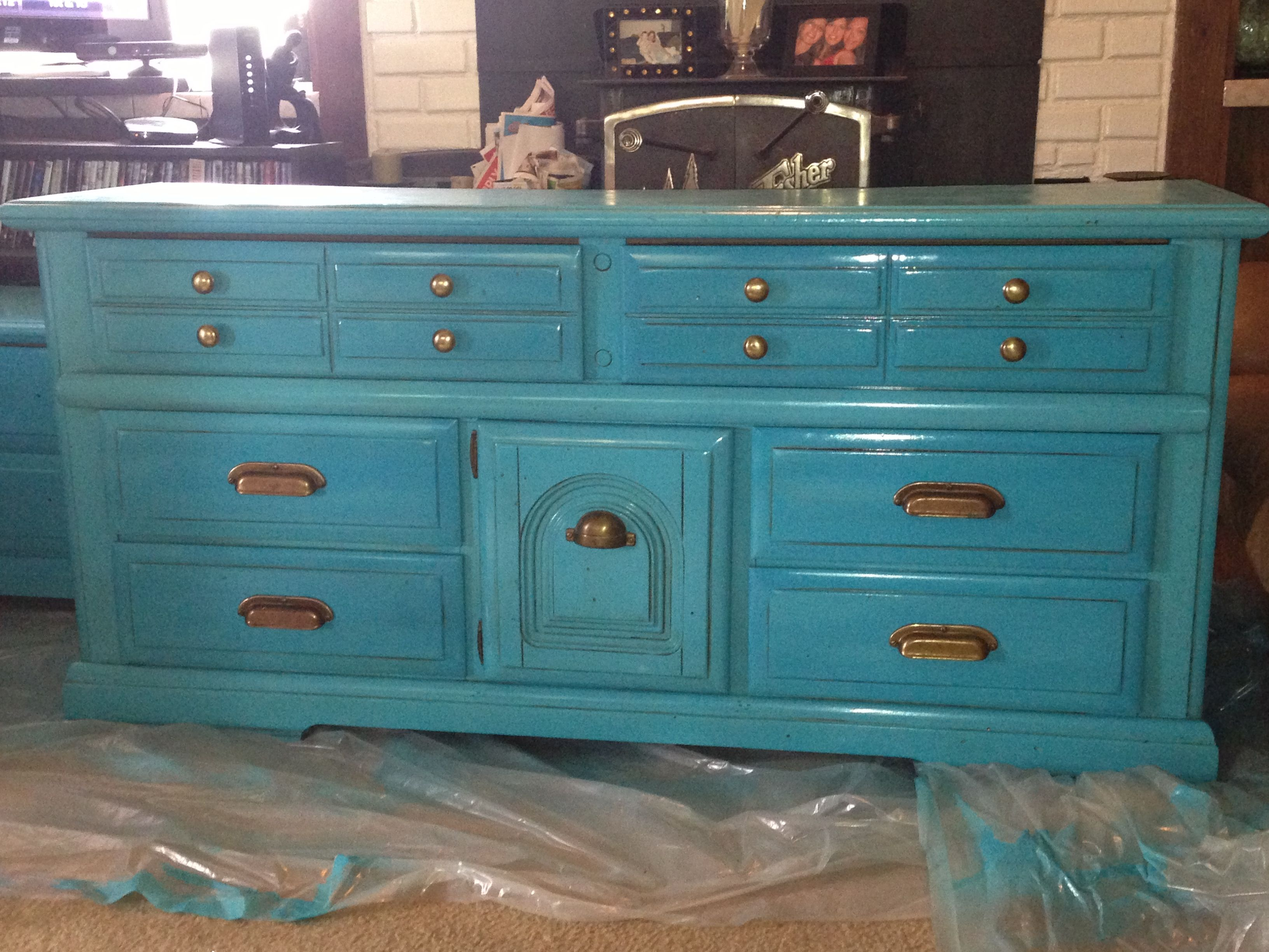 Valspar Turquoise Spray Paint Refinished 70s Style Dresser Valspar Exotic Sea Spray Paint And