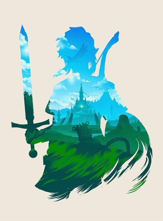 Breath of the Wild Art Print, Zelda Poster Design Silhouette Check more at https://diy-dekora...