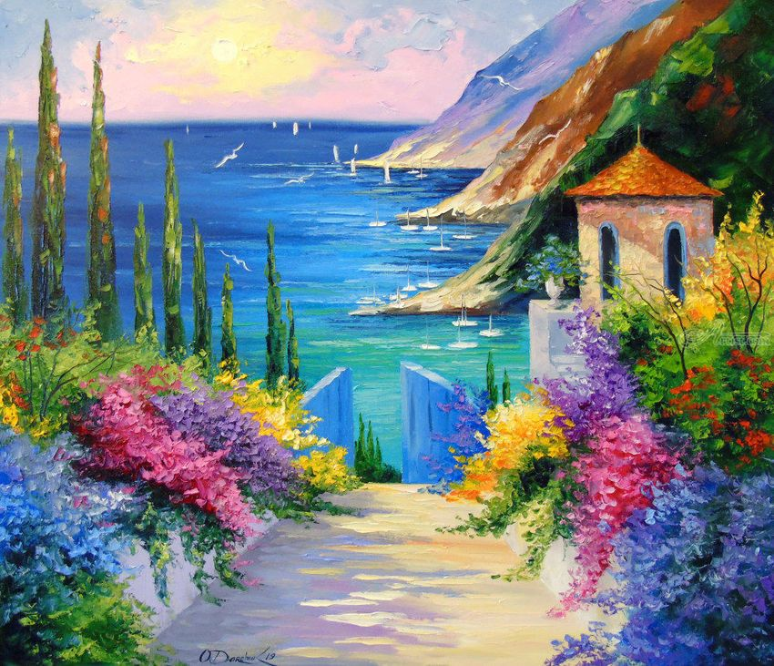Sunny Road To The Sea Paintings Fine Art Impressionism Botanical Floral Landscape Nature Canvas Oil Painting B Sea Art Paint Prices Artwork Painting