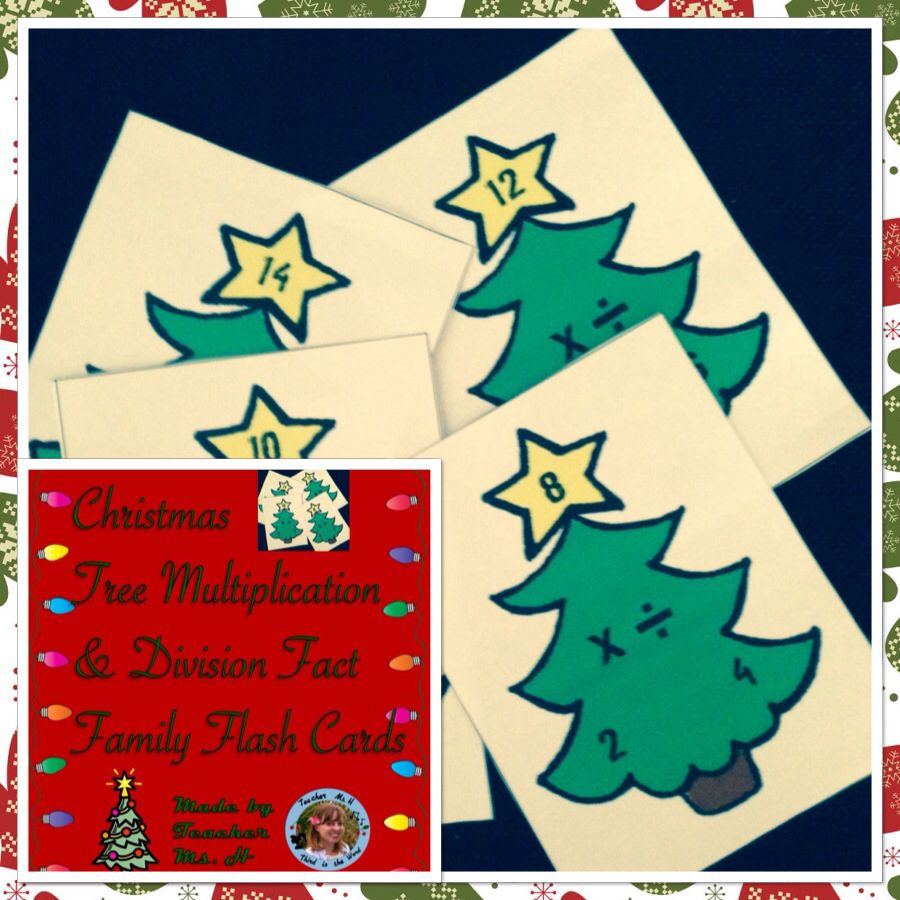 worksheet Fact Family Flash Cards multiplication and division fact family flashcards christmas tree themed