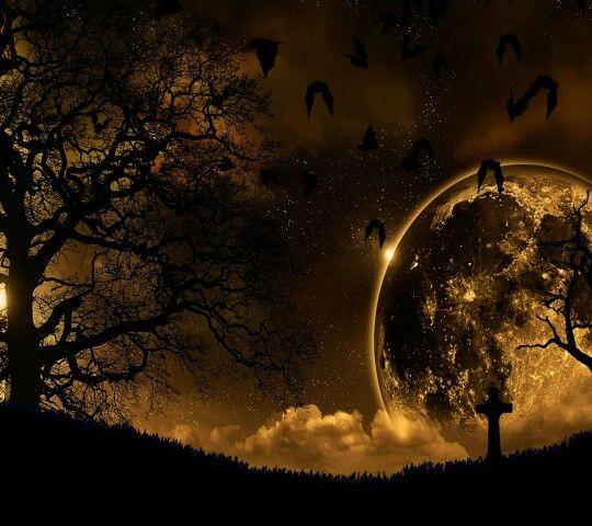 Halloween Moon Landscape Wallpaper Gothic Wallpaper Moon Silhouette