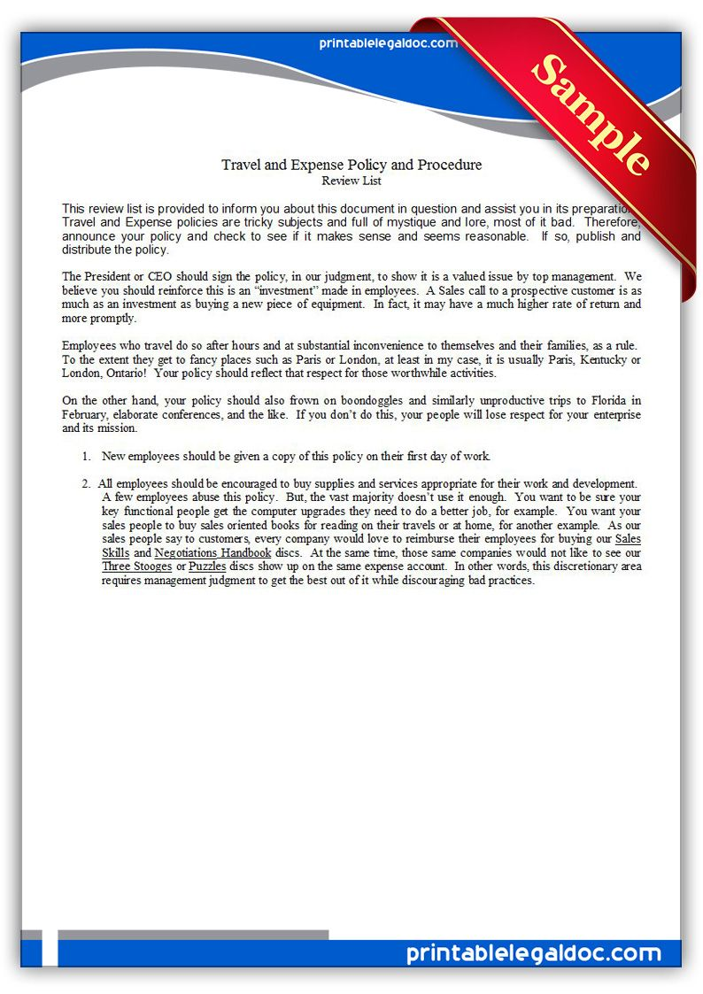 Printable travel and expense policy and procedure Template – Travel Policy Template