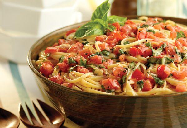 Linguine w/ Tomatoes & Basil Recipe