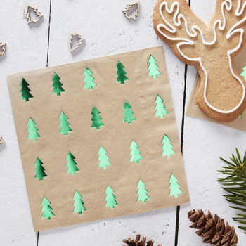 Green Tree Foiled Paper Napkins Christmas #juledekorationideer2019