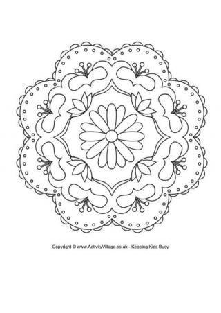 Rangoli Coloring Pages for Diwali | Bookmarks | Mandalas, Mandalas ...