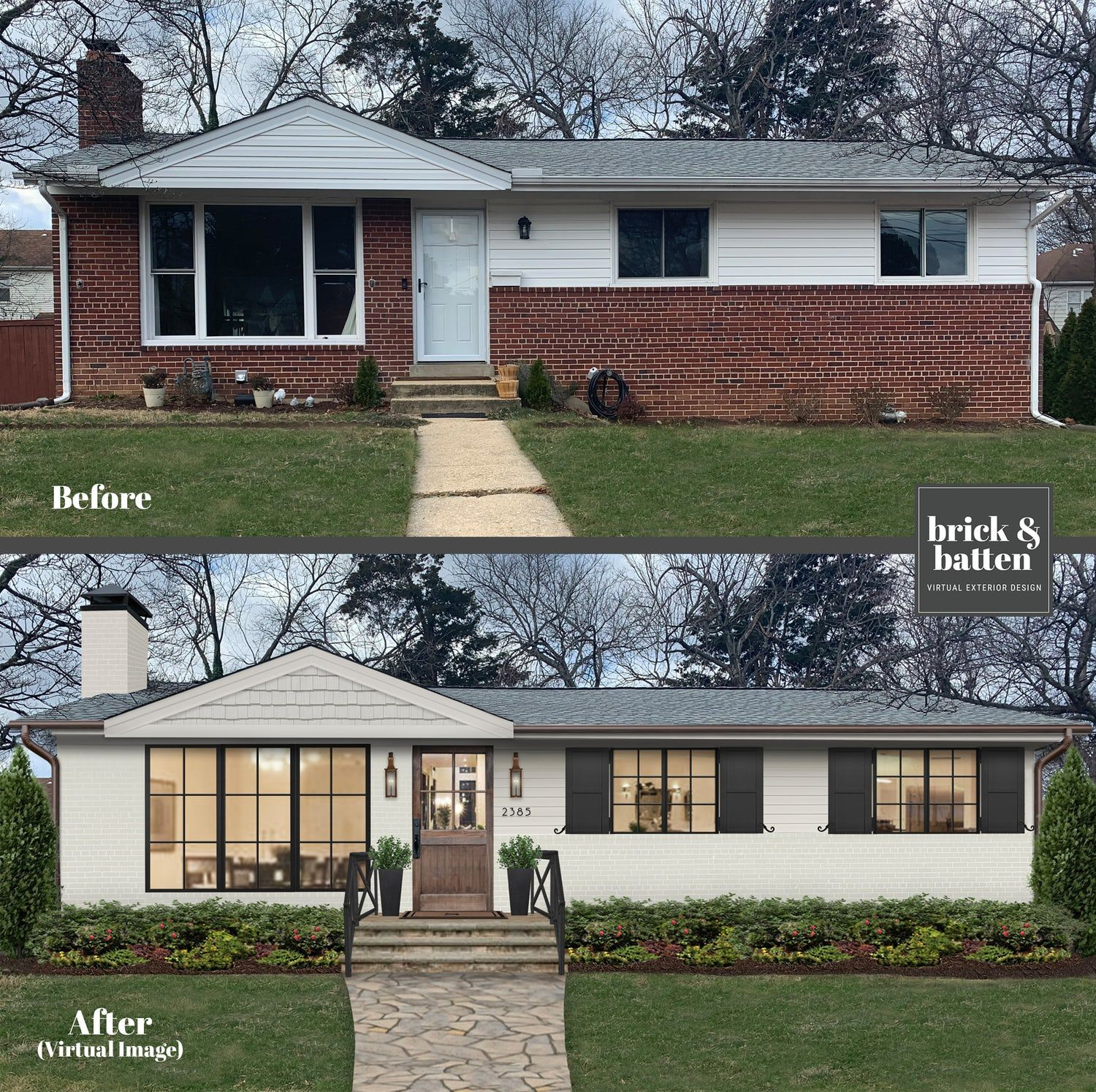 20 Painted Brick Houses To Inspire You In 2020 Blog Brick Batten In 2020 Brick Exterior House Painted Brick House Home Exterior Makeover
