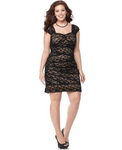 Onyx Plus Size Dress Cap Sleeve Sequin Lace Cocktail Dress Plus