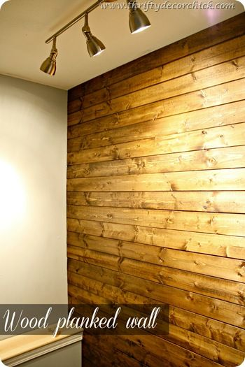 DIY wood planked wall - Lowe\'s pine wood planks, Minwax Wood Finish ...