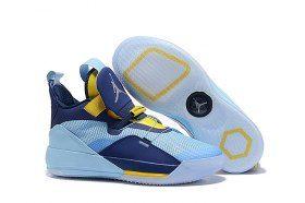 save off 44b76 5f55f Air Jordan 33 XXXIII Future of Flight Light Blue Navy Blue Yellow Sneakers  Men s Basketball Shoes