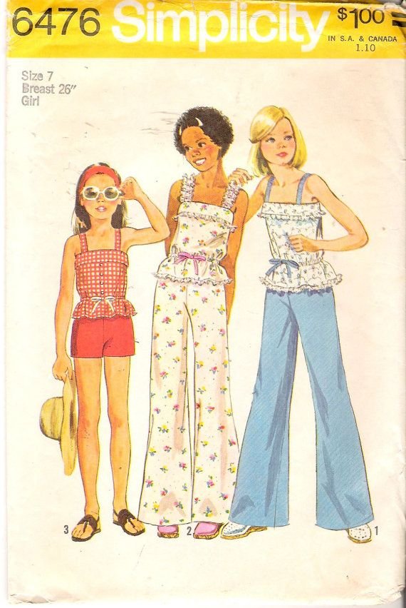 Vintage 1974 Simplicity 6476 Girl\'s Bell-Bottom Pants or Shorts ...