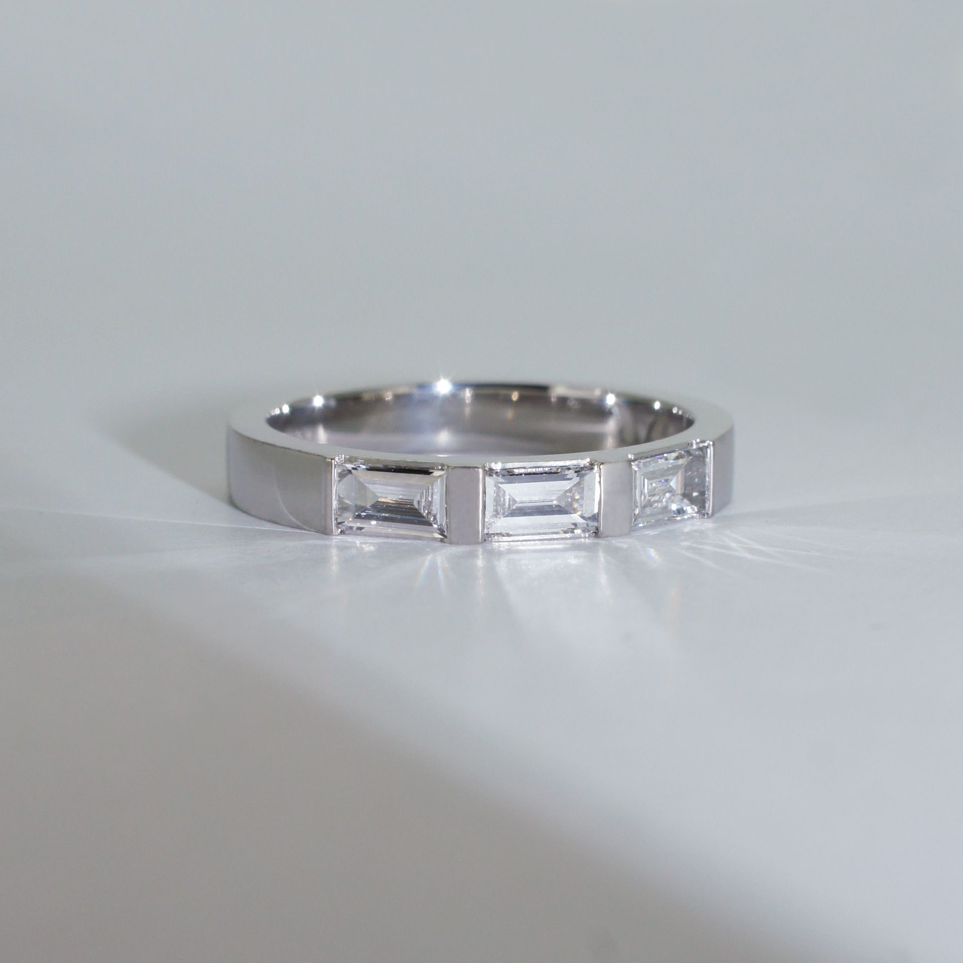 This wedding band was custom made to go with our Half Moon