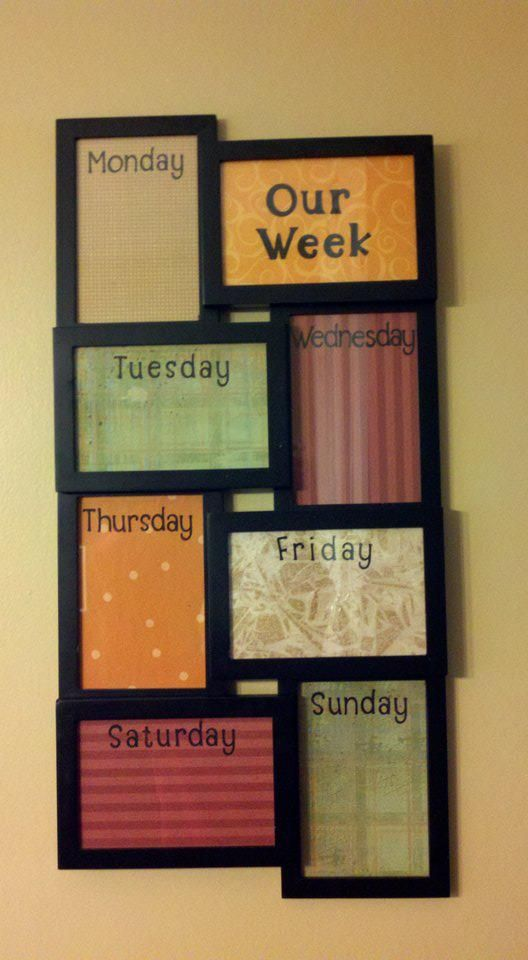 My weekly schedule board. 8-frame picture frame. Scrapbook paper below the glass, use dry erase to write schedules on the glass.  Works great!