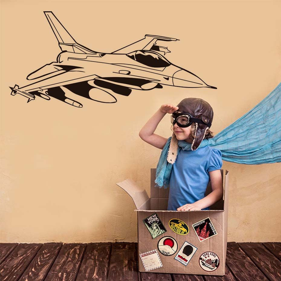 Diy Jet Fighter Wall Stickers 3d Removable Vinyl Wall Art Poster ...