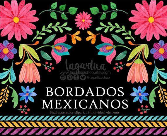 Flores Mexicanas Folklorico Artesanias Mexico Tipico Clip Art Acuarela Clipart Png Mexico Flores Para Fi Folk Embroidery Mexican Folk Art Mexican Party