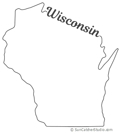 Wisconsin Map Outline Printable State Shape Stencil Pattern Map Outline Wisconsin State Outline