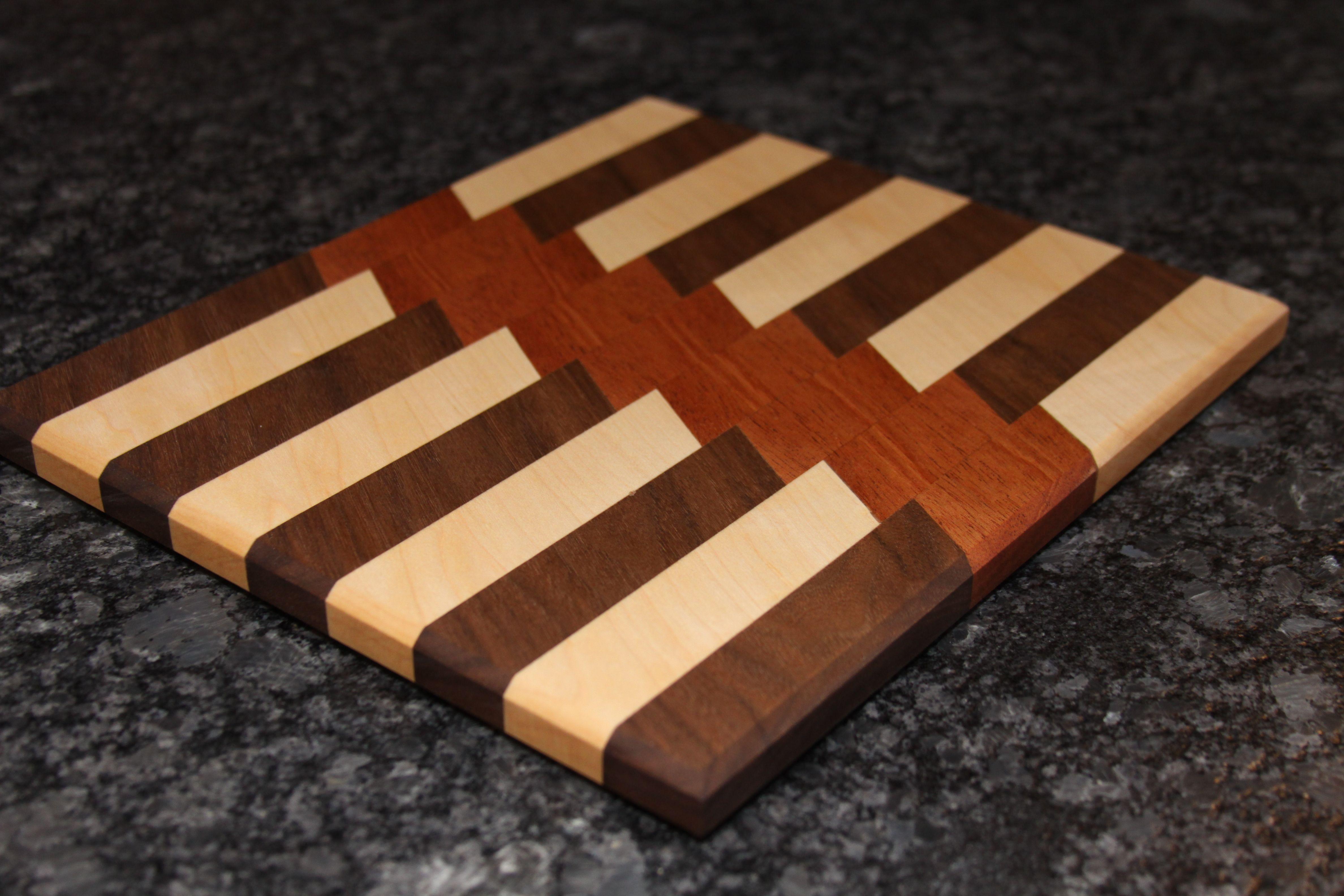 Walnut and Maple Custom 3D End Grain Cheese Slicer Board
