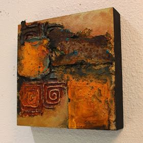 """CAROL NELSON FINE ART BLOG: """"Southern Relic"""" mixed media abstract rust painting © Carol Nelson Fine Art"""