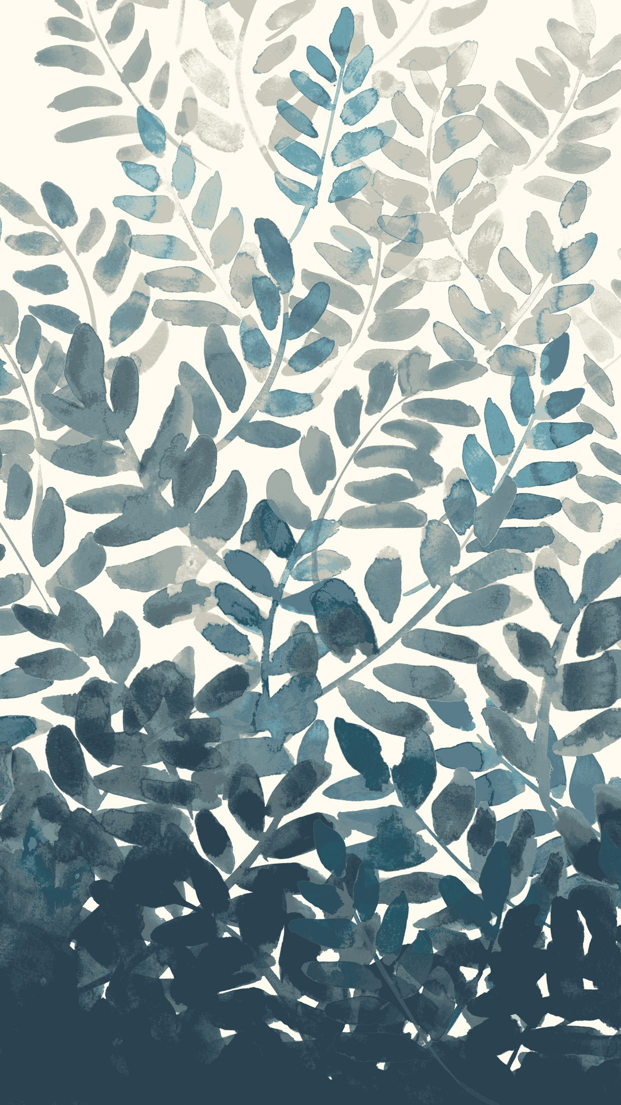 West Elm Watercolor Fern Wallpaper 1 Jpg 1242 2208 Akvarelnye Oboi Illyustracii Rastenij Oboi