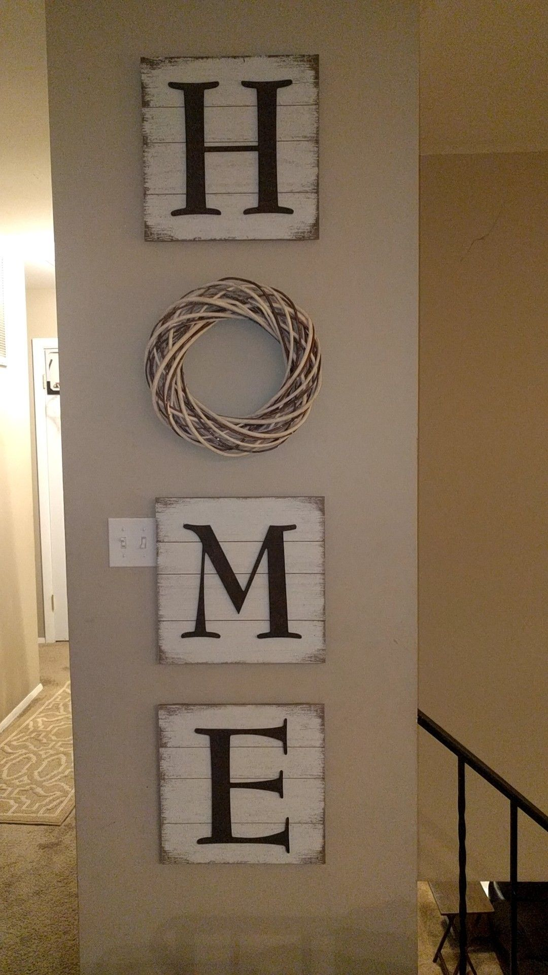 Whitewashed Wood Pallet Letters From Hobby Lobby Wreath Also From Hobby Lobby Whitewash Wood Wood Pallets Decor