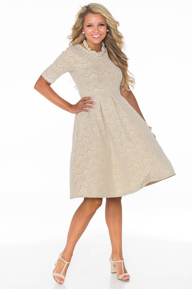 Nicole Modest Lace Dress In Champagne Taupe