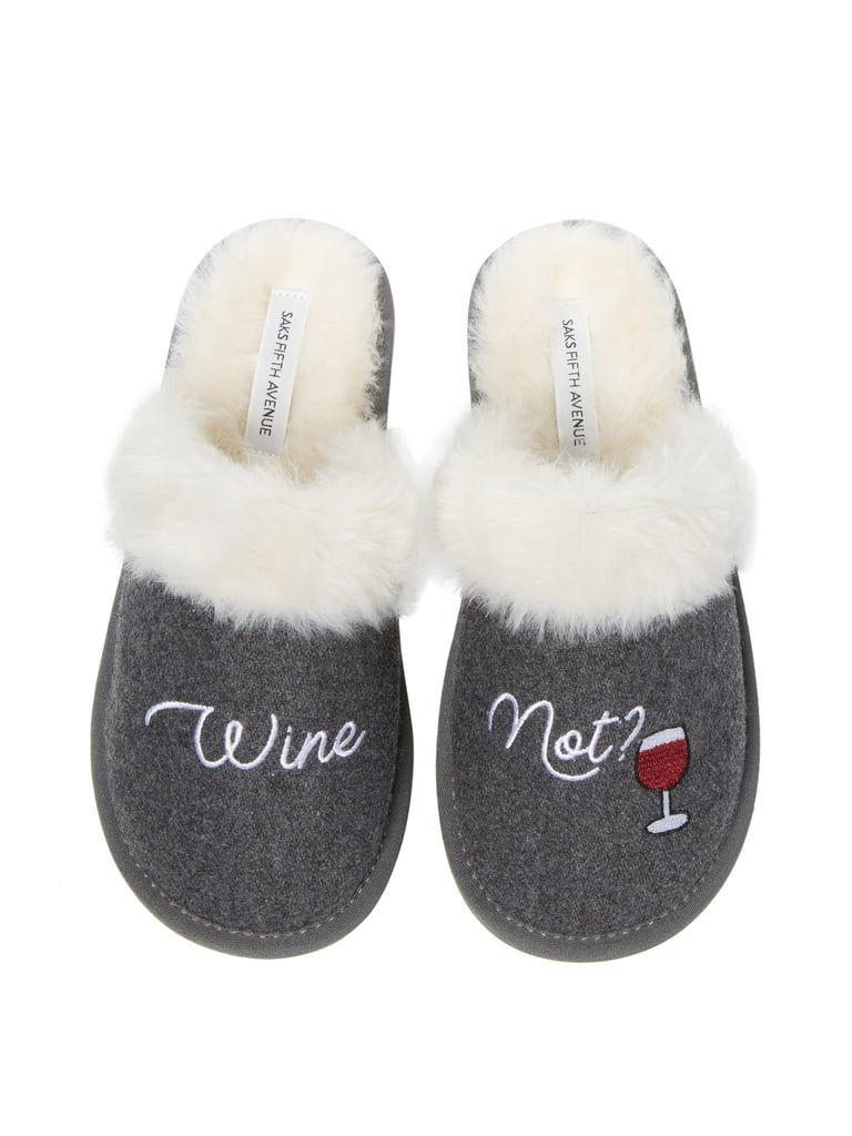 21d33017f Wine Not Faux-Fur Slippers | Foodie Gift Ideas | Slippers, Shoes ...
