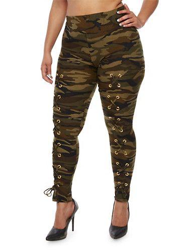 bff65a09f9b6a Plus Size Camo Print Lace Up Leggings