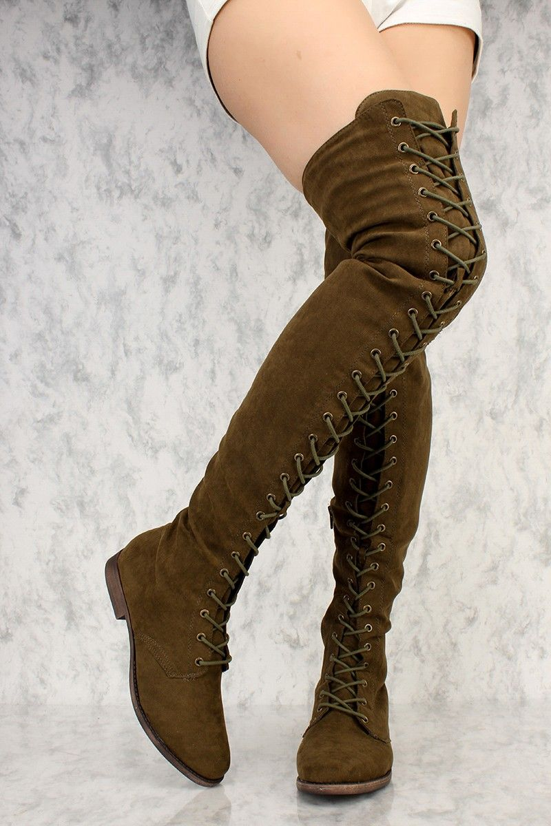 858d069503b Olive Front Lace Up Round Toe Thigh High Flat Boots Faux Suede ...